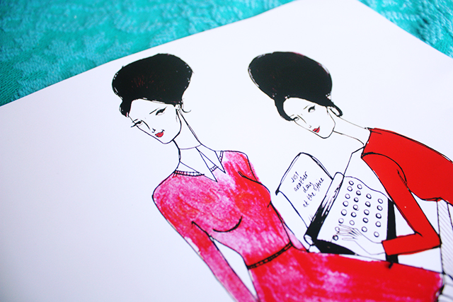 dom and ink illustrations orla kiely girls with typewriter detail