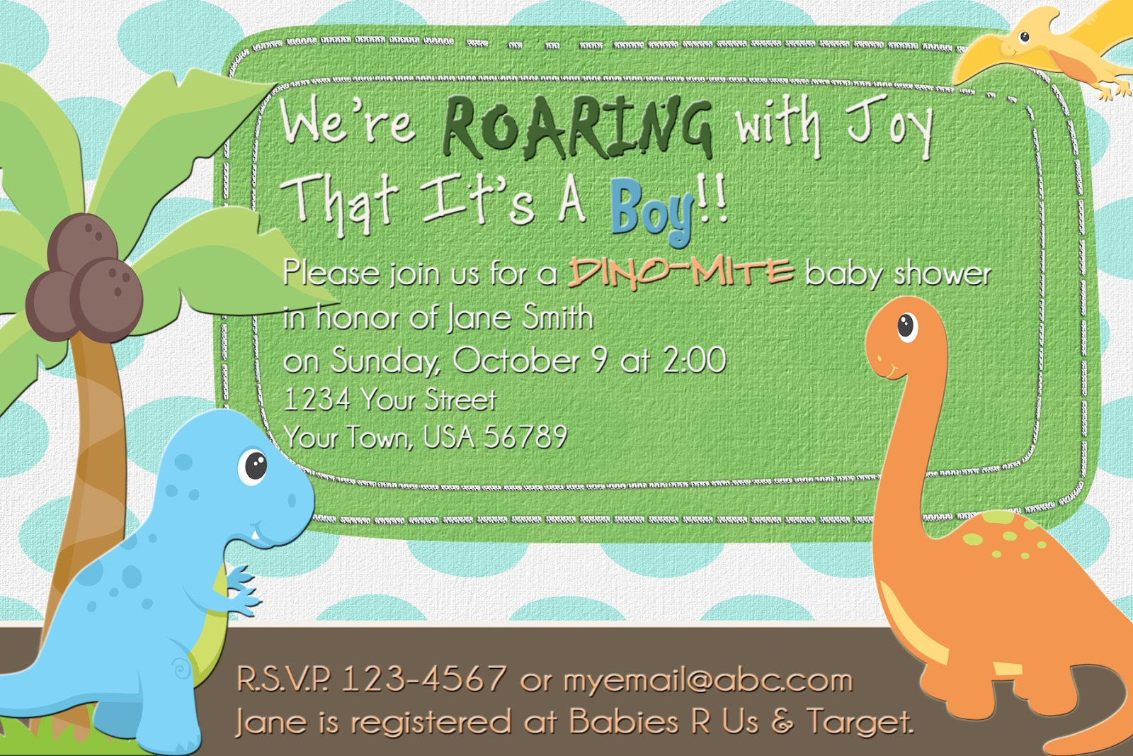 The Fast Lane Freebie Friday Dinosaur Baby Shower Invitation