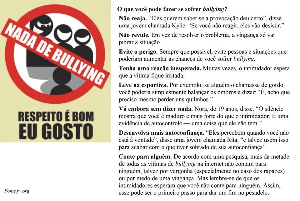 Preferência O que você pode fazer se sofrer bullying? | EM Ana das Neves de  OA04