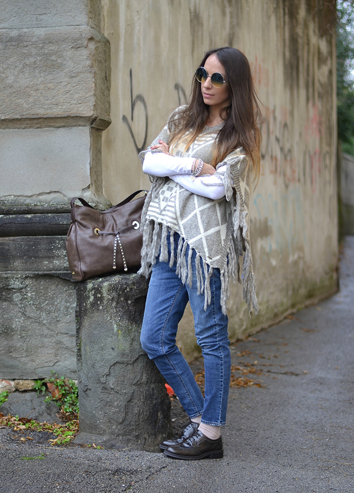 look jeans poncho