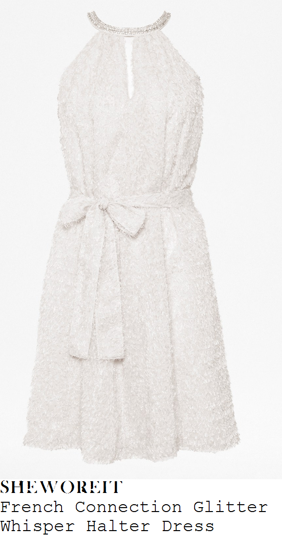 lucy-mecklenburgh-white-cream-textured-fluffy-sleeveless-halterneck-dress