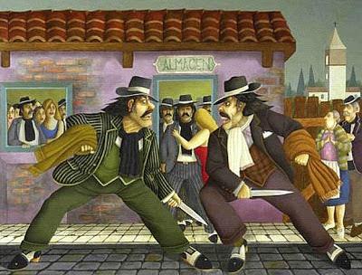 pintura de dos malevos peleando con cuchillo