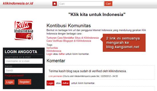 terimakasih untuk klik indonesia