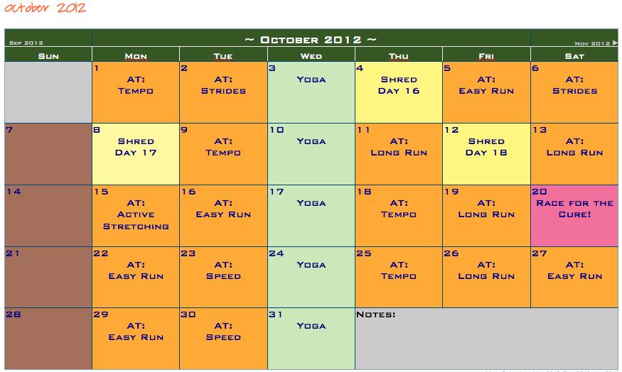 Fleur de Love: October Workout Calendar