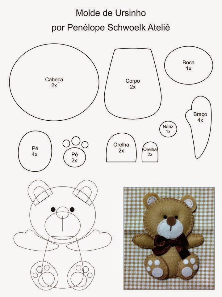 Выкройки мишки для игрушки из фетра