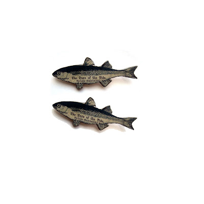 Varnished Paper Fish Earrings