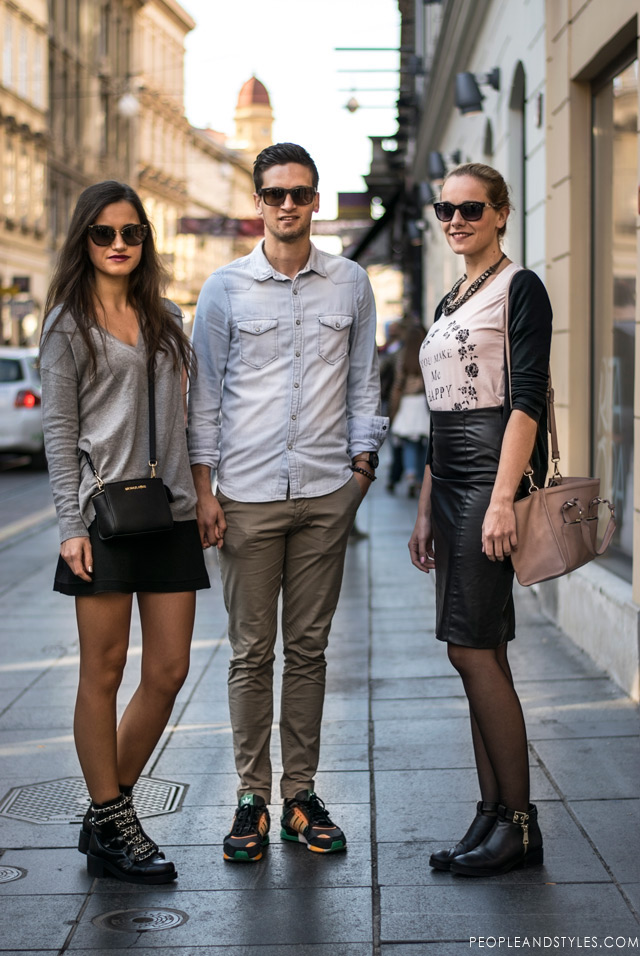 stylish people on the streets of Zagreb, street style Croatia, skirt outfit with ankle boots, Zagreb subota street