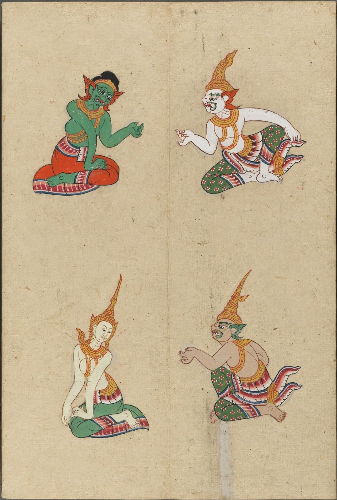 colour painted illustration of mythological gods and devils