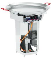 Grill pe gaz 'Fiesta-800' - otel cromat cu tava ,800 mm Ø,pentru gaz propan , aprindere piezo electrica ,unitatea de arzatorului poate fi scoasa pentru o curatare usoara, consum  489 g/h Putere 7KW 50 mbar 800x800x(H)900 mm