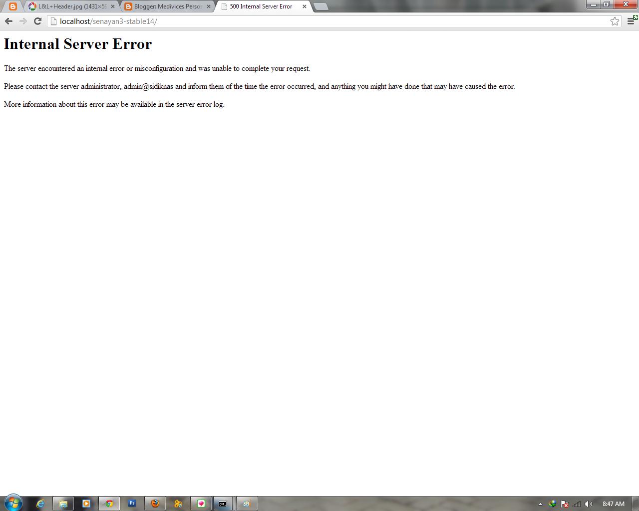 500 internet server: