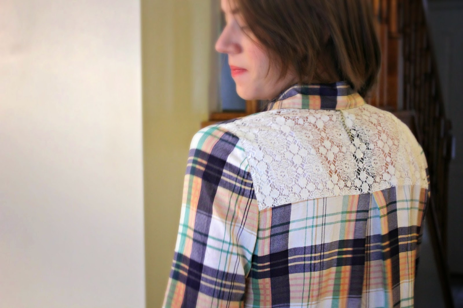 Lace Detail on Stitch Fix Plaid Top