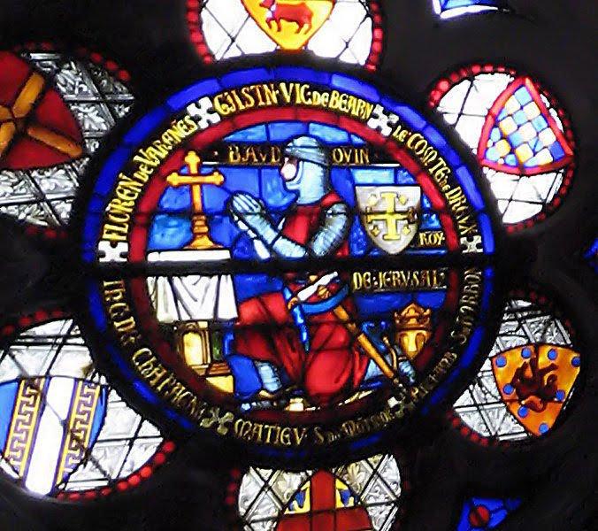Balduino I, rei de Jerusalém. Vitral na abadia de Saint Denis, Paris