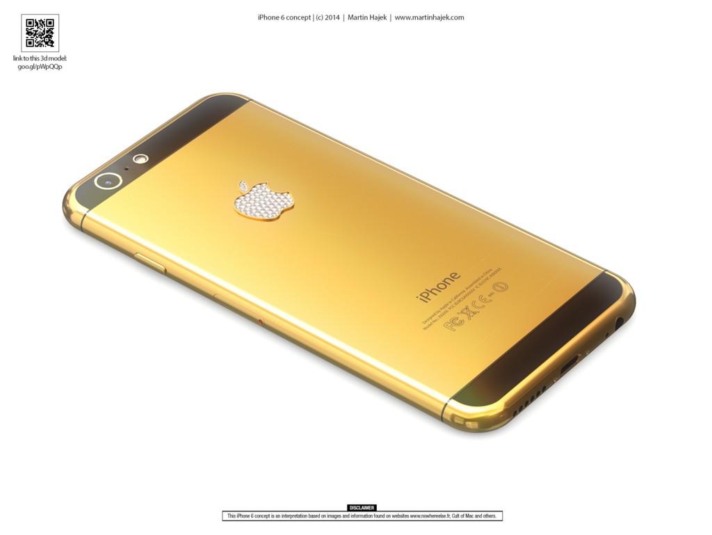 Concepto iPhone 6 en oro con diamantes