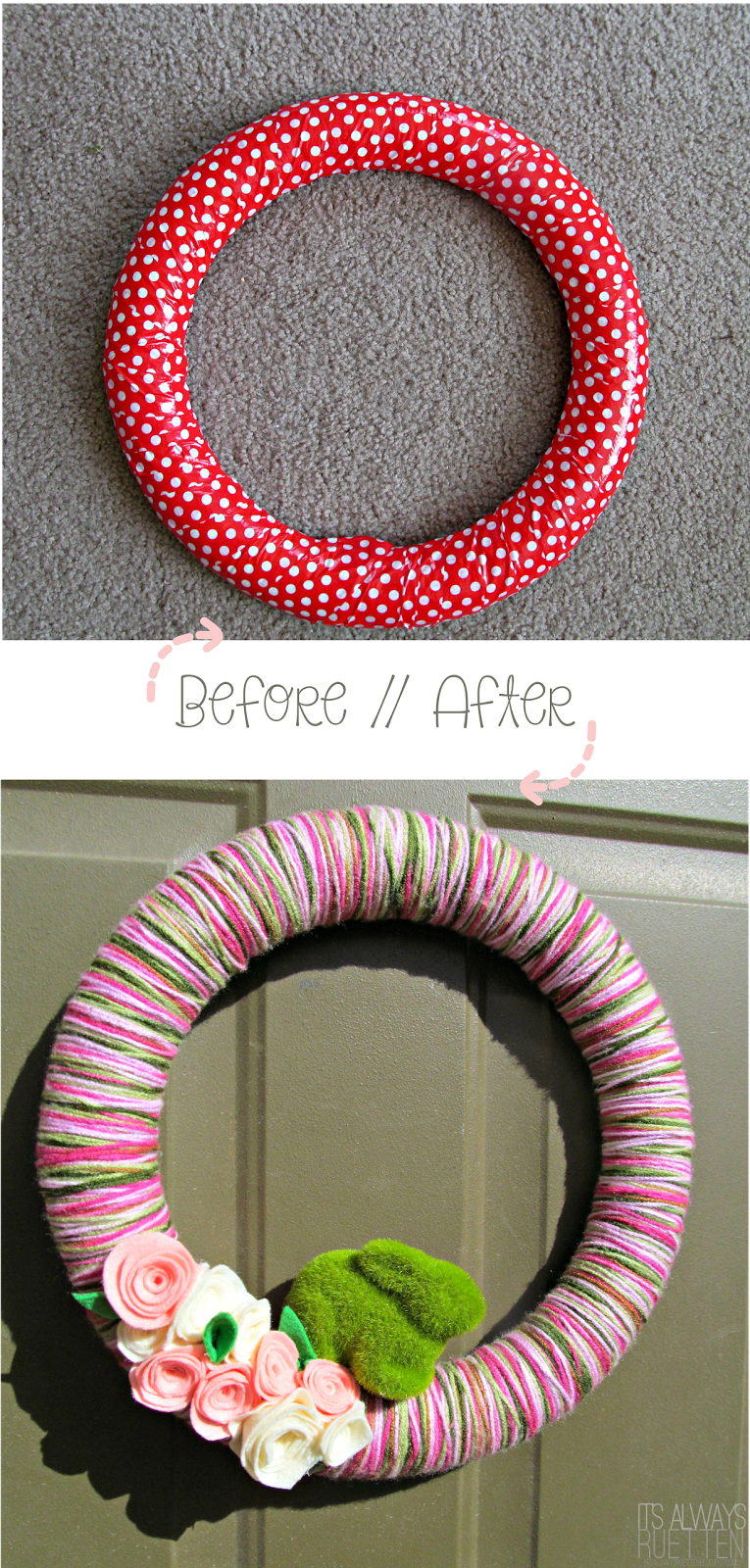 How to reuse a wreath form! Love the Spring wreath!