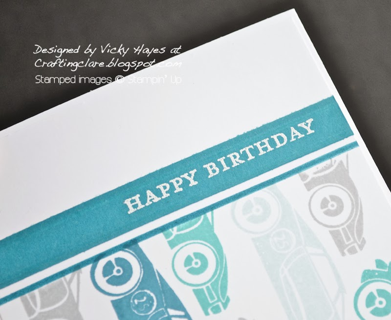 Morning Meadow hostess stamp heat embossed in white and added to male card using Rev up the Fun by Stampin' Up