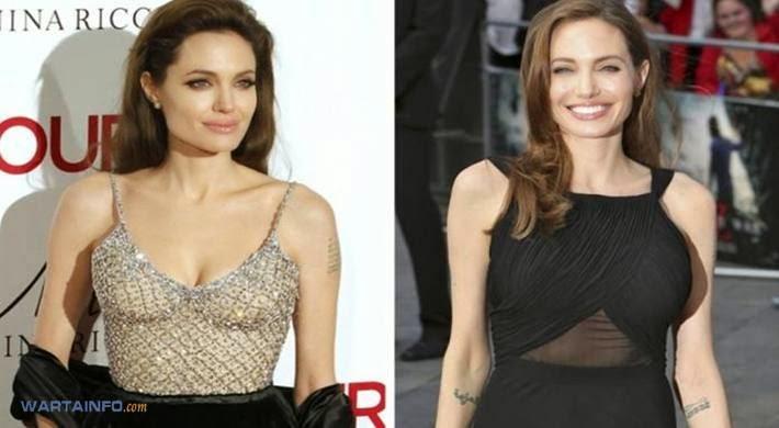 Foto Hot Belahan dada Montok Angelina Jolie Selebritis dengan Implan Payudara Termahal