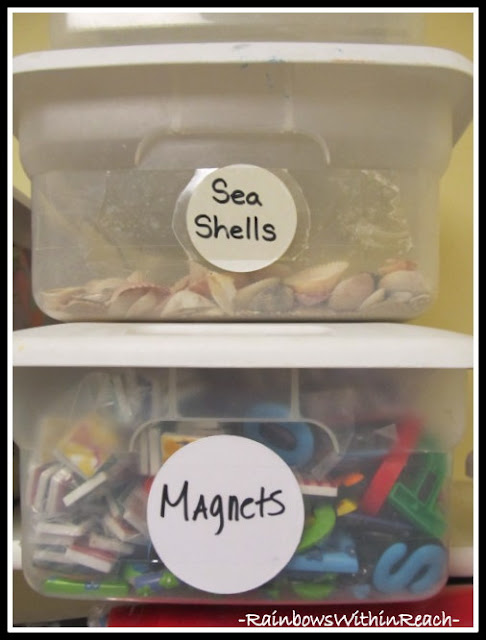 photo of: Bins for Organization (Classroom Organization RoundUP via RainbowsWithinReach)