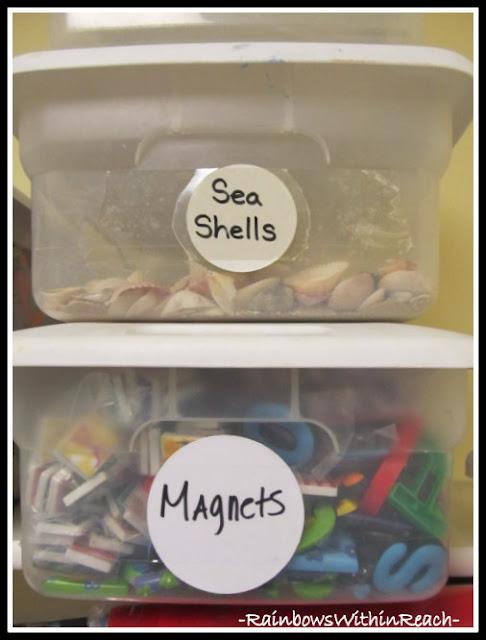 photo of: Bins for Organization (Classroom Organization RoundUP via RainbowsWithinReach)