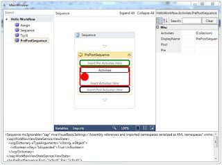 The HelloDesigner application hosting the WorkflowDesigner