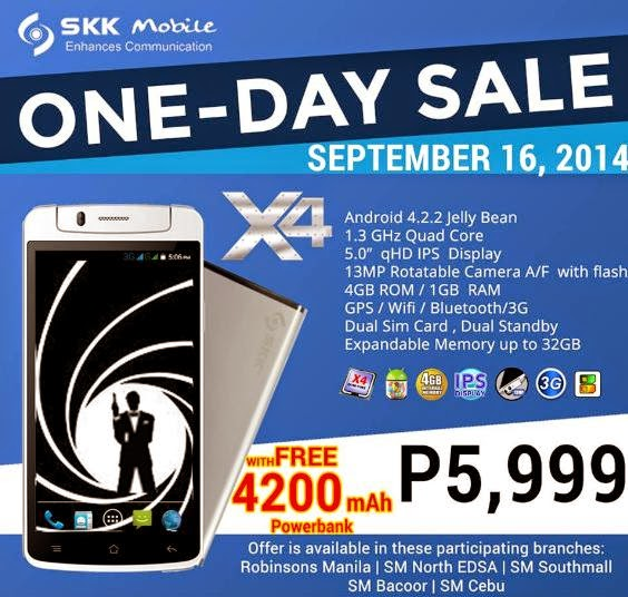 SKK Mobile X4 Promo with FREE Power Bank this September 16
