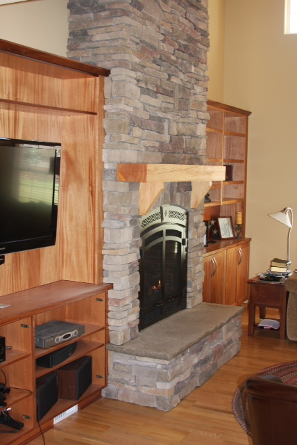 Stamped Concrete Chimney : Zander built construction rock fireplace with stamped