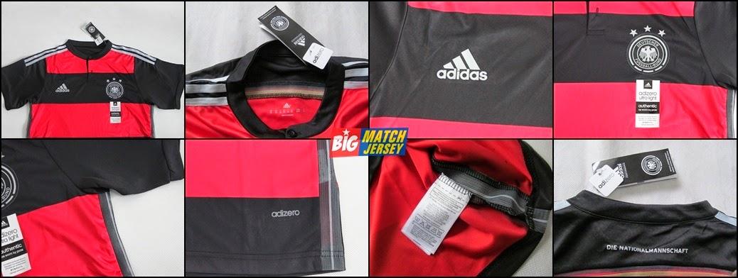 Detail Jersey Bola Grade Ori Jerman Away Adidas Adizero Piala Dunia 2014 Untuk Pemain