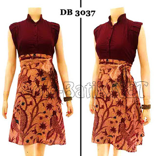 DB3037 Model Baju Dress Batik Modern Terbaru 2013