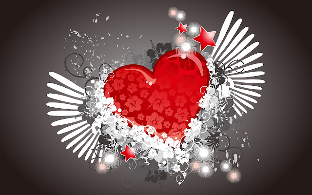 Rood liefdes hart met vleugels en bloemen