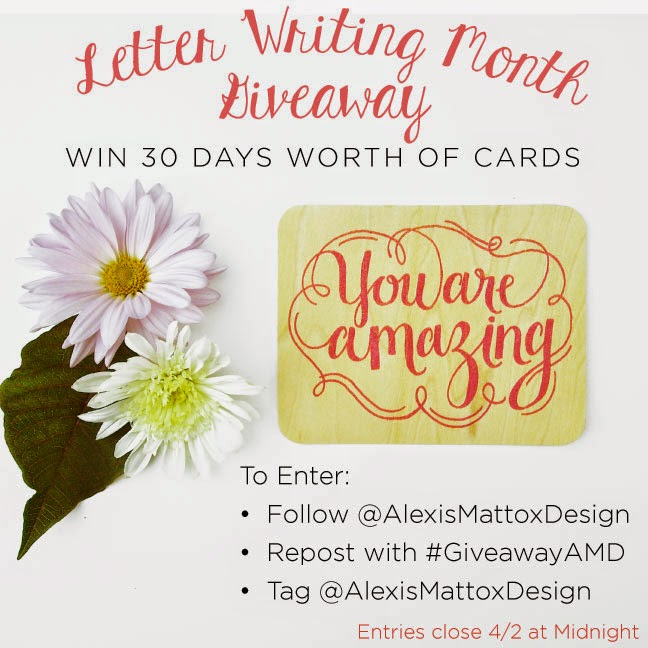 Letter Writing Month Giveaway from Alexis Mattox Design Laser Cut Stationery