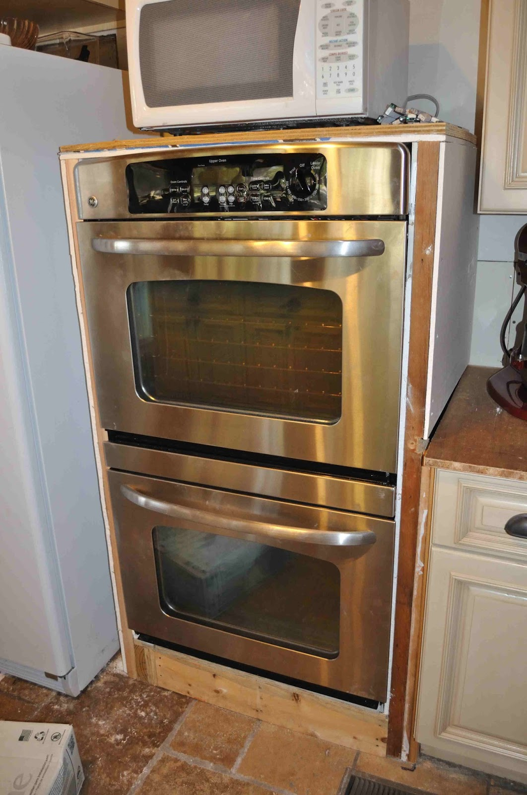 once upon a cedar house installing wall ovens without a cabinet. Black Bedroom Furniture Sets. Home Design Ideas