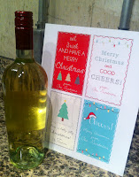 Peel off the original wine label - and print out your new customized Christmas labels!
