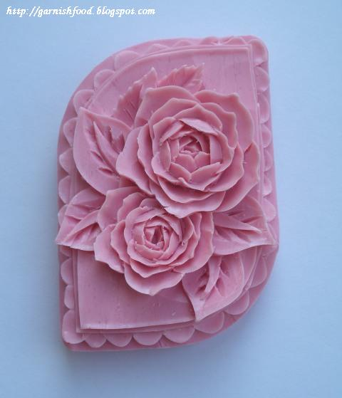 Pink flowers soap carving garnishfood g