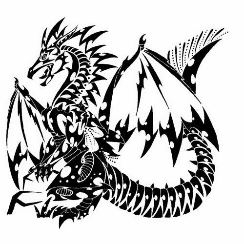 Dragon tattoo stencil 1 (full size)