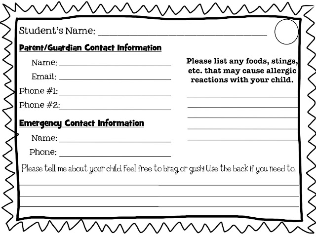 student information card template