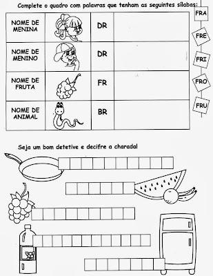 sílabas, nomes com fr, Atividades com FR. anos iniciais,alfabetização, 1º ano, ensino fundamental,alfabeto, atividades para imprimir