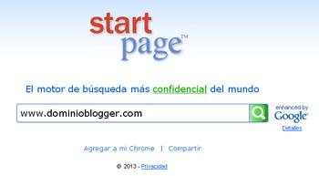 busquedas anonimas con Startpage