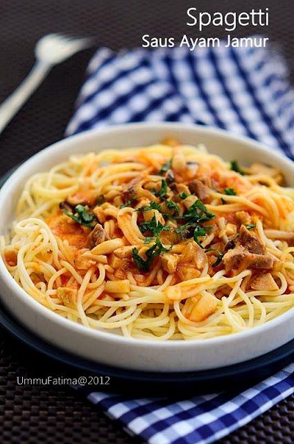 spagetti saus ayam jamur