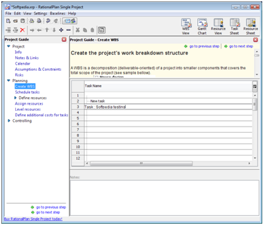 Programar proyectos con RationalPlan