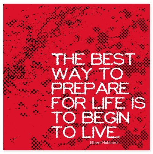 The best way to prepare are for life is to begin to live.