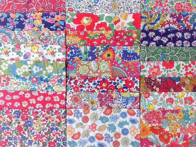 Liberty fabric squares cut for pockets