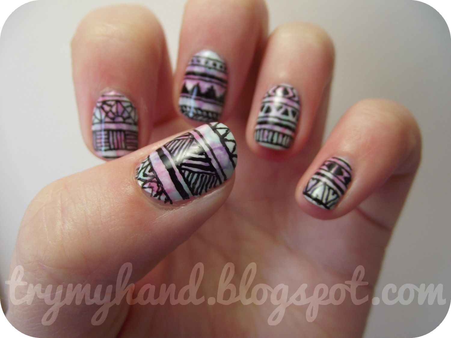 Try My Hand Alphabet Nail Art Challenge A For Aztec
