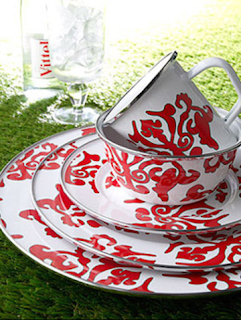 Enameled dinnerware is an eco-friendly summer entertaining option