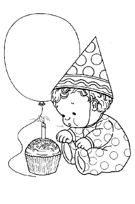 صورة طفل صغير يطفئ الشمعة ويحمل بالون للتلوين