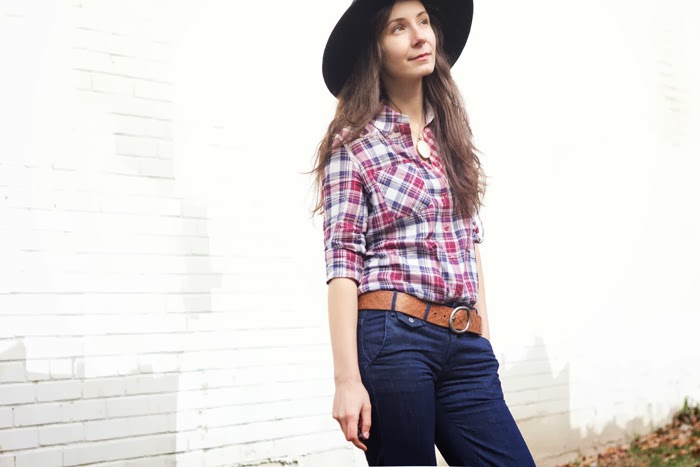 felt-fedora-flare-jeans-plaid-button