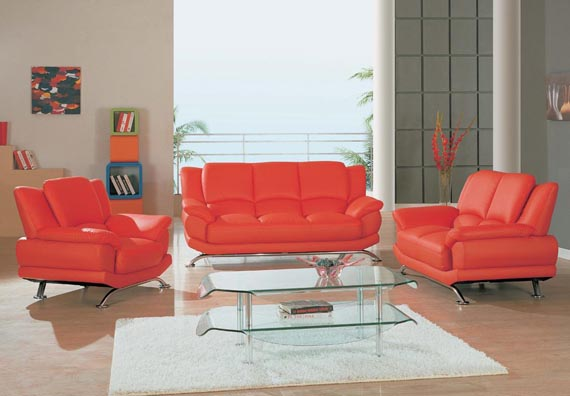 Red Leather Living Room Furniture Sets