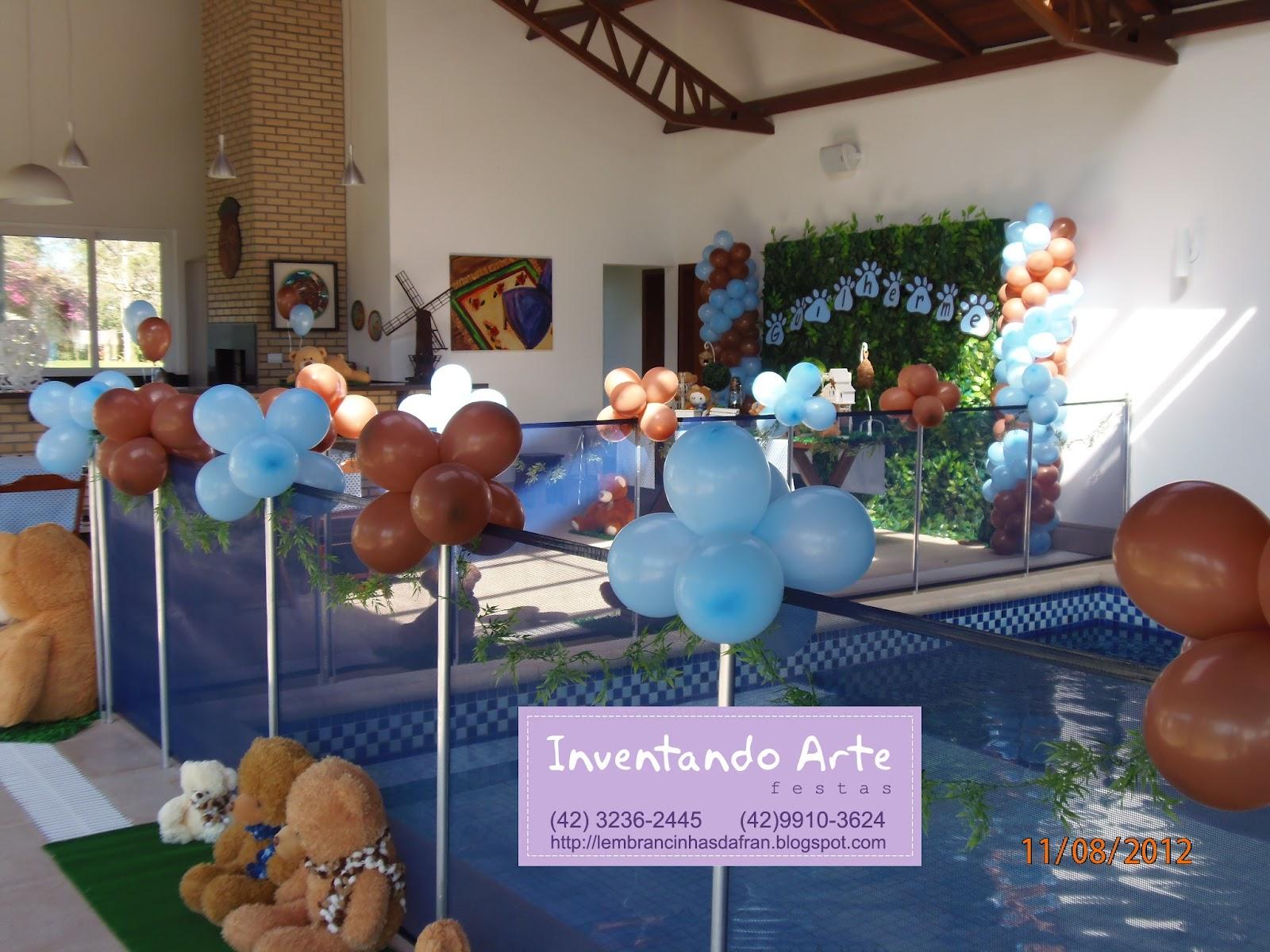 decoracao festa urso azul e marrom:Inventando Arte: Festa do Guilherme – Marrom e Azul de Ursos