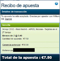 Apuestas Deportivas Rosberg Fútbol – Champions League Real Madrid-Apoel William Hill
