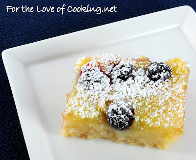 Lemon and Blueberry Bars with a Coconut Crust