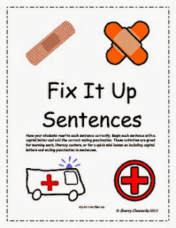 http://www.teacherspayteachers.com/Product/Fix-It-Up-Sentences-Capital-Letters-and-Ending-Punctuation-548889
