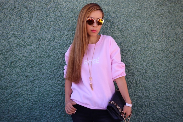 Rose sweatshirt, pink sweatshirt, rad sweatshirt, wildfox sweatshirt, unif ripped skinny jeans, sunglasses, chanel bag, kendra scott necklace, keds sneakers, fashion blog, casual outfit, fblogger, nyc blogger